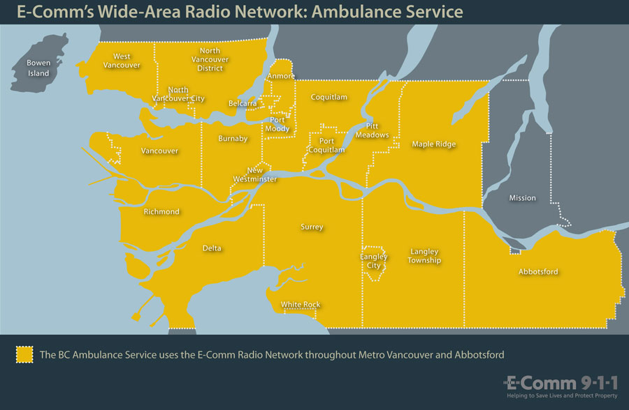 E-Comm 911 emergency dispatcher wide area radio network ambulance department